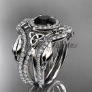 14kt white gold celtic trinity knot engagement ring with a Black Diamond center stone CT789S