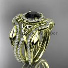 14kt yellow gold celtic trinity knot engagement ring with a Black Diamond center stone CT789S
