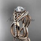 14kt rose gold celtic trinity knot engagement set with a Moissanite center stone CT790S