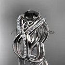 14kt white gold celtic trinity knot engagement ring with a Black Diamond center stone CT790S