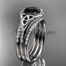 14kt white gold diamond celtic trinity knot engagement ring with a Black Diamond center stoneCT7126S