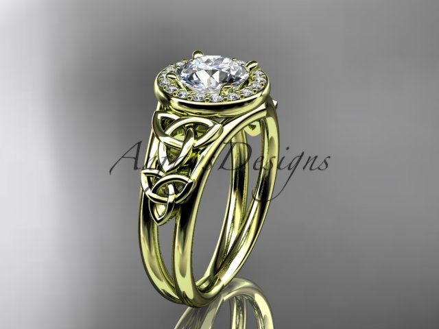 14kt yellow gold diamond celtic trinity knot engagement ring with a Moissanite center stone CT7131