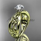 14kt yellow gold celtic trinity engagement ring with a Moissanite center stone CT7171