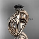 14kt rose gold celtic trinity knot engagement ring with a Black Diamond center stone CT7171