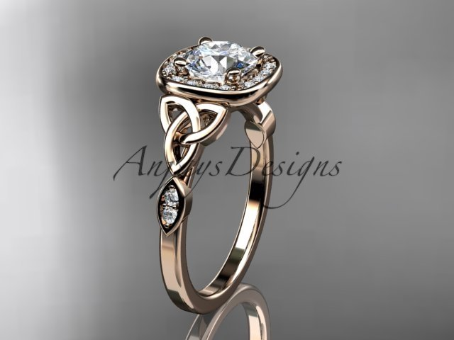 14kt rose gold diamond celtic trinity knot  engagement ring with a Moissanite center stone CT7179