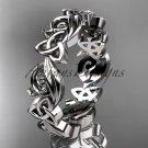 Platinum diamond celtic trinity knot wedding band, engagement ring CT7191B