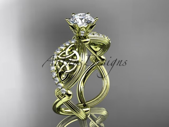 14kt yellow gold diamond celtic trinity knot  engagement ring with a Moissanite center stone CT7192