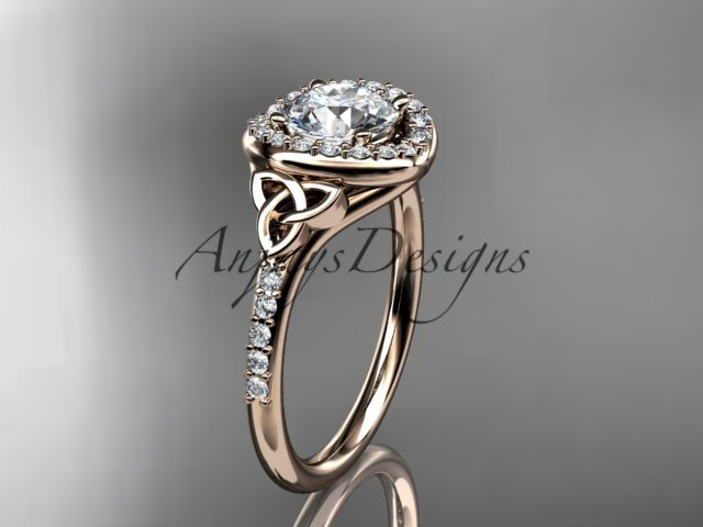 14kt rose gold diamond celtic trinity knot wedding ring, engagement ring CT7201