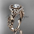 14kt rose gold diamond celtic trinity knot   engagement ring with a Moissanite center stone CT7211