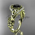 14ktyellow gold diamond celtic trinity knot engagement ring with a Black Diamond center stone CT7211