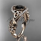 14kt rose gold diamond celtic trinity knot engagement ring with a Black Diamond center stone CT7211
