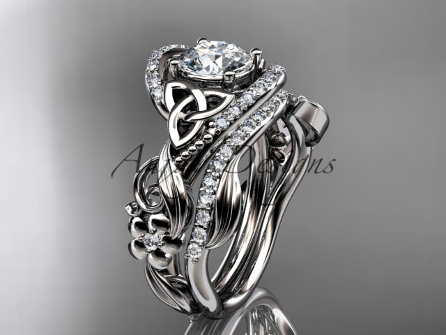 Platinum  diamond celtic trinity knot wedding ring, engagement set CT7211S