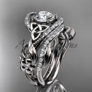 14kt white gold diamond celtic trinity knot engagement set with a Moissanite center stone CT7211S