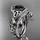 14kt white gold diamond celtic trinity knot engagement set with a Black Diamond center stone CT7211S