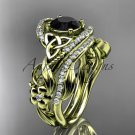 14kt yellow gold diamond celtic trinity knot engagement set with a Black Diamond center stoneCT7211S
