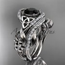 Platinum diamond celtic trinity knot engagement set with a Black Diamond center stoneCT7211S