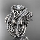 14kt white gold diamond celtic trinity knot engagement ring with a double matching band CT7211S