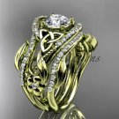14kt yellow gold diamond celtic trinity knot engagement ring with a double matching band CT7211S