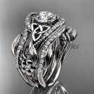 14kt white gold diamond celtic trinity knot engagement ring with a Moissanite center stone CT7211S