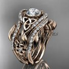 14kt rose  gold diamond celtic trinity knot engagement ring with a Moissanite center stone CT7211S