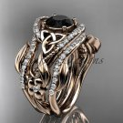 14kt rose gold diamond celtic trinity knot engagement ring with a Black Diamond center stoneCT7211S