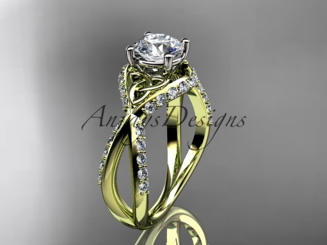 14kt yellow gold diamond celtic trinity knot engagement ring with a Moissanite center stone CT7218