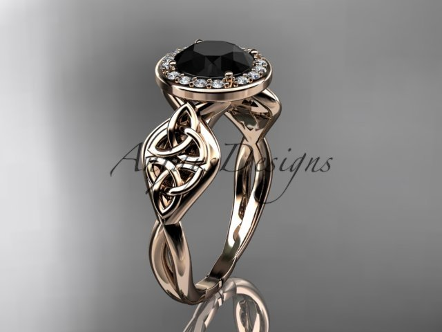14kt rose gold diamond celtic trinity knot engagement ring with a Black Diamond center stone CT7219
