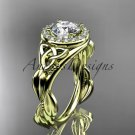 14kt yeloow gold diamond celtic trinity knot wedding ring, engagement ring CT7327