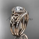 14kt rose gold diamond celtic trinity knot engagement set with a Moissanite center stone CT7131S