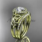 14kt yellow gold diamond celtic trinity knot engagement set with a Moissanite center stone CT7131S