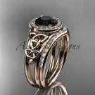 14kt rose gold diamond celtic trinity knot engagement set with a Black Diamond center stone CT7131S