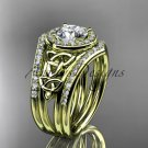 14kt yellow gold diamond celtic trinity knot engagement ring with a double matching band CT7131S