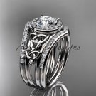 Platinum  diamond celtic trinity knot engagement ring with a double matching band CT7131S