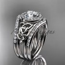 14kt white gold diamond celtic trinity knot wedding ring with a Moissanite center stone  CT7131S