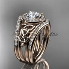 14kt rose gold diamond celtic trinity knot wedding ring with a Moissanite center stone  CT7131S