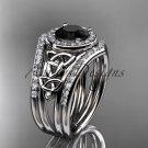 14kt white gold diamond celtic trinity knot engagement set with a Black Diamond center stone CT7131S