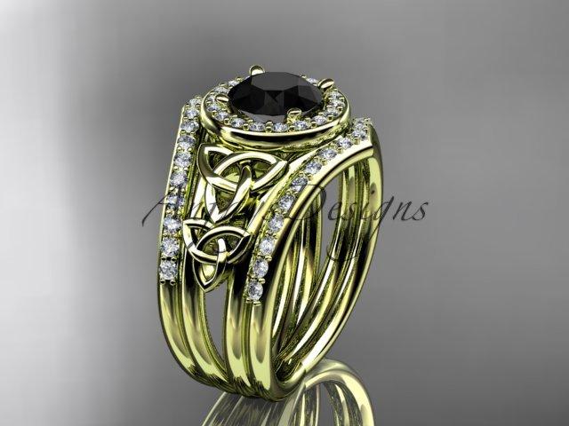 14ktyellow goldt ring with a Black Diamond center stoneCT7131S diamond celtic trinity knot engagemen
