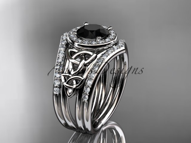 Platinum diamond celtic trinity knot engagement ring with a Black Diamond center stoneCT7131S