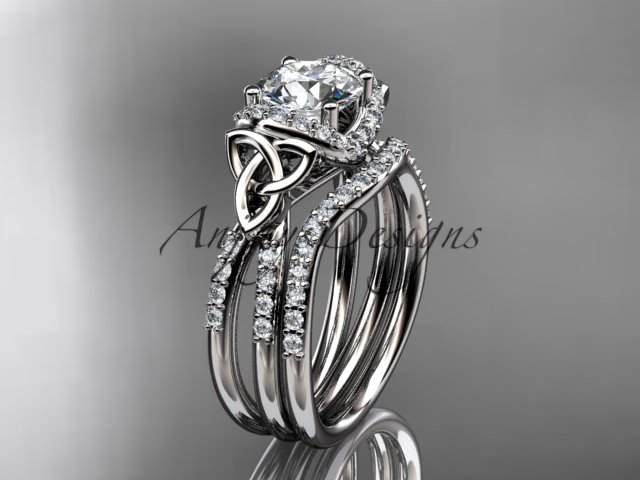 14kt white gold diamond celtic trinity knot wedding ring, engagement set CT7155S