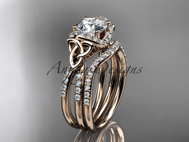 14kt rose gold diamond celtic trinity knot wedding ring, engagement set CT7155S