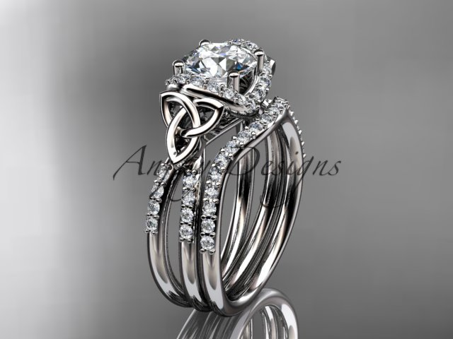 14kt white gold diamond celtic trinity knot engagement set with a Moissanite center stone CT7155S