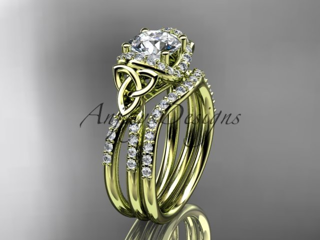 14kt yellow gold diamond celtic trinity knot engagement set with a Moissanite center stone CT7155S