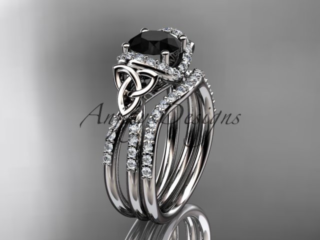 14kt white gold diamond celtic trinity knot engagement set with a Black Diamond center stone CT7155S
