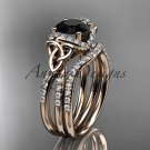 14kt rose gold diamond celtic trinity knot engagement set with a Black Diamond center stone CT7155S