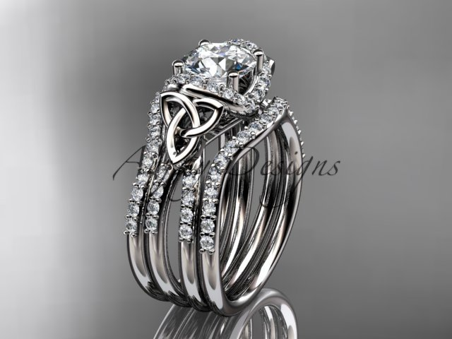 14kt white gold diamond celtic trinity knot engagement ring with a double matching band CT7155S