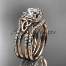 14kt rose gold diamond celtic trinity knot engagement ring with a double matching band CT7155S