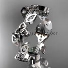 14kt white gold diamond celtic trinity knot wedding band, engagement ring CT7193B