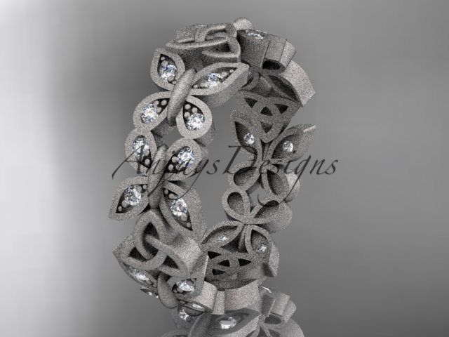 14kt white gold diamond celtic trinity knot matte finish wedding band, engagement ring CT7198B