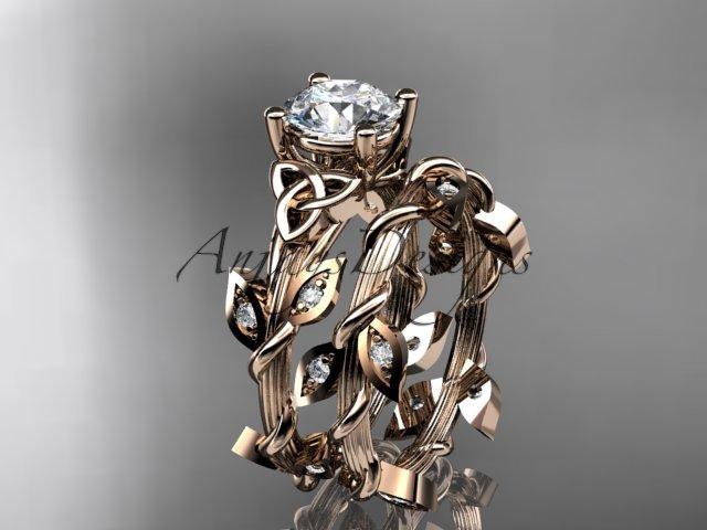 14kt rose gold diamond celtic trinity knot wedding ring, engagement set CT7215S