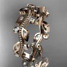 14k rose gold diamond leaf and vine wedding ring, engagement ring, wedding band ADLR3A